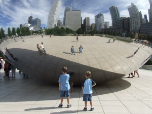 Our sons at the Bean, Millenium Park, Chicago. Photo by Tonia Pringle