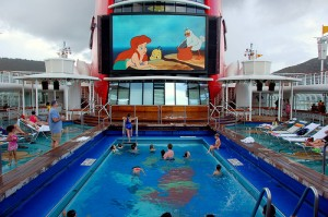 "30 foot ""Ariel View"" screen above the Goofy Pool on Deck 9. Photo by Scott Ableman."