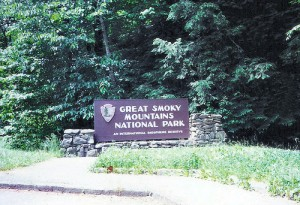 Entrance to the National Park. Smoky Mountains National Park, Tennessee. Photo by Cindy Seigle