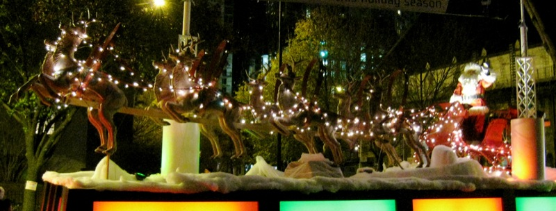 Santa and Reindeer, Magnificent Mile Holiday Lights Festival. Photo by Rex Libris.