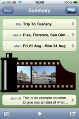 Home Screen - MyVacationApp for the iPhone/iPod Touch